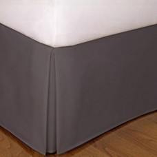 8 Inches Drop Bed Skirt Solid Gray Egyptian Cotton 1000 Thread Count